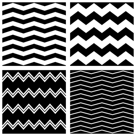 Tile vector chevron pattern set with black zig zag on white background Vettoriali