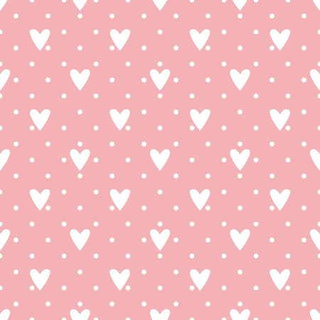 Tile vector pattern with white hearts and polka dots on pastel pink background Vector
