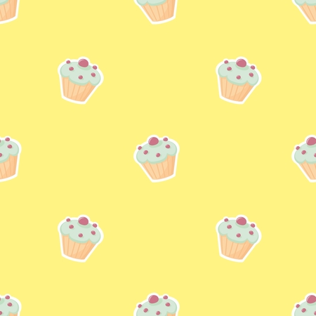 christmas plaid: Tile vector pattern with cupcake on yellow background