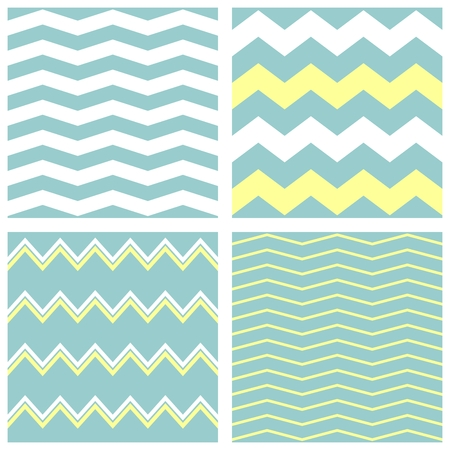Tile vector pattern set with white, pastel blue or mint green and yellow zig zag print background Vector