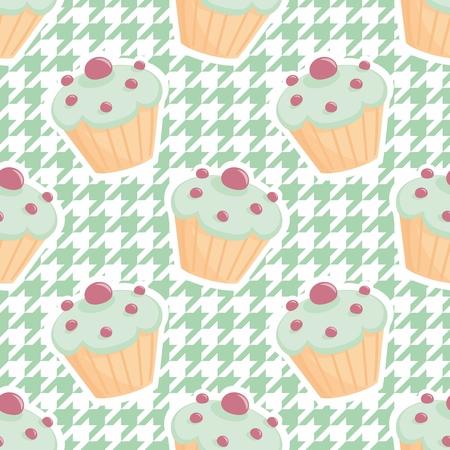 houndstooth: Tile vector cupcake pattern on mint green houndstooth background. Illustration