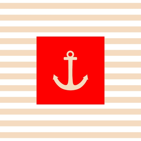 Nautical vector card or invitation with white anchor, red background and pastel stripes Vector