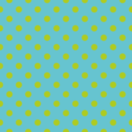repetition dotted row: Tile vector pattern with green polka dots on blue background Illustration