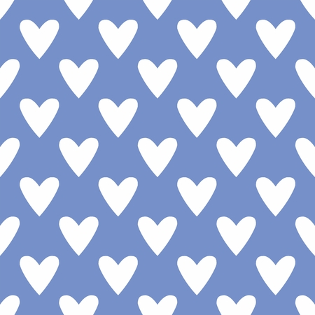Tile cute vector pattern with hand drawn white hearts on blue background Vector