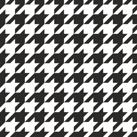 Houndstooth tegel zwart-wit patroon of vector achtergrond Stock Illustratie