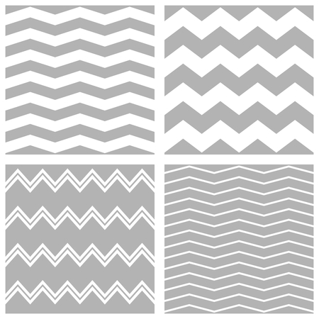 zig zag: Tile vector chevron pattern set with white and grey zig zag background