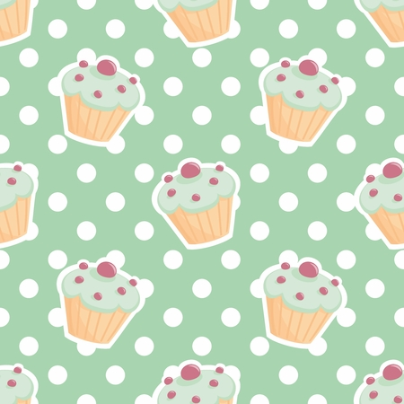 Vector tile pattern with cupcakes and polkadots on mint green background Vector