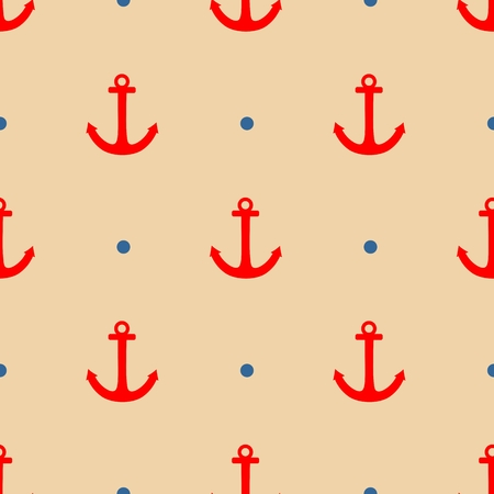 tile pattern: Sailor tile pattern with red anchor and navy blue polkadots on pastel background Illustration