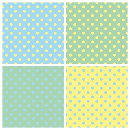 Tile green yellow and blue summer vector background set with polkadots Vector