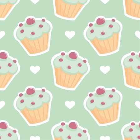 Tile vector pattern with cupcake and hearts on mint green background Vector