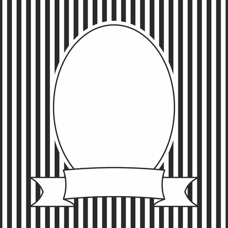 Hand Drawn Vector Photo Frame On Black And White Stripes Background