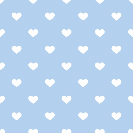 ditch: Tile cute vector pattern with hand drawn white hearts on blue background