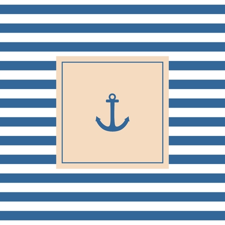 Nautical vector card or invitation with anchor pastel background and blue white stripes Vector