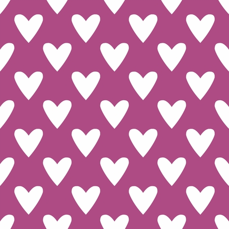 Tile vector pattern with white hearts on pastel background Vector