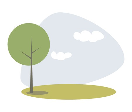 idyllic: Vector green tree on the hill at blue sky spring or summer day. Eco idyllic landscape park or scene with white clouds flat illustration isolated on white background Illustration