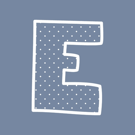 e white: E hand drawn letter with small white polka dots on blue background