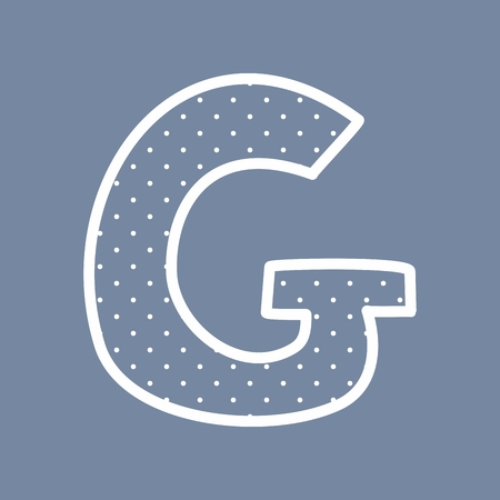 g alphabet: G hand drawn letter with small white polka dots on blue background