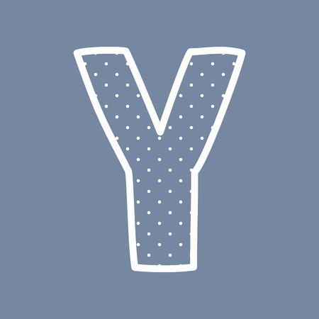 Y hand drawn letter with small white polka dots on blue background Vector