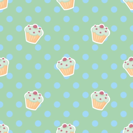 blueberry muffin: Vector tile pattern with cupcakes and blue polkadots on green background