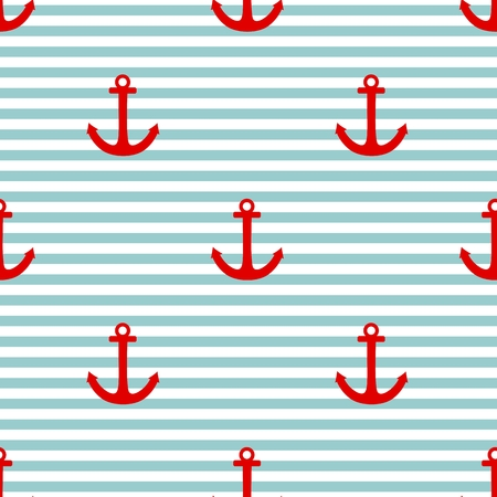 Sailor tile vector pattern with red anchor and mint green and white stripes background