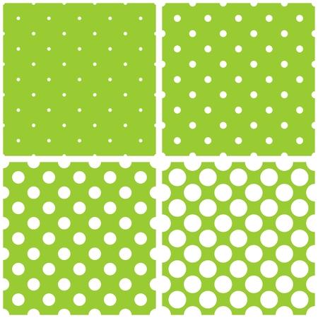 녹색 배경 벡터 원활한 패턴 또는 질감을 사용 하여 설정합니다. 파스텔 화려한 신선한 봄 녹색 및 노란색 배경에 흰색 폴카 도트.