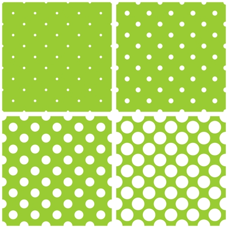 Green background vector set with seamless patterns or textures. White Polka dots on pastel colorful fresh spring green and yellow background.