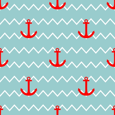 Sailor tile vector pattern with red anchor on a white and blue stripes background Vector