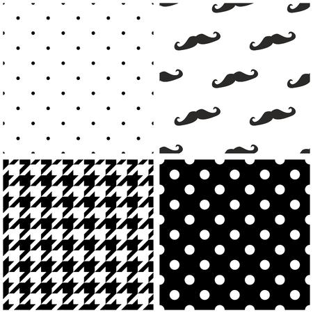 검은 색과 흰색 점 houndstooth 패턴과 콧수염 배경 컬렉션 설정 타일 벡터 패턴입니다.
