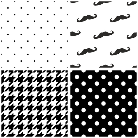 Tile vector pattern set with black and white dots houndstooth pattern and a mustache background collection. Vectores