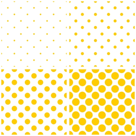 Tile vector yellow polkadots on a white background pattern set Vector