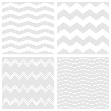 Vector Tegel chevron patroon set met witte en grijze zig-zag achtergrond