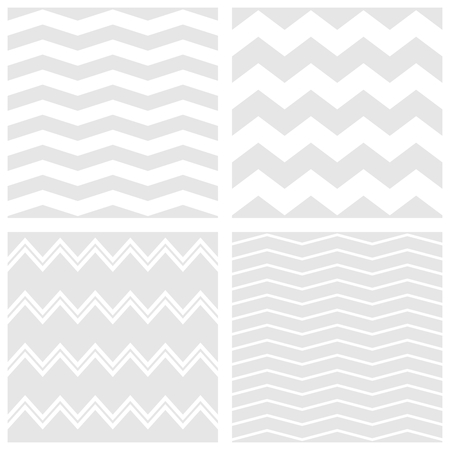 Vector Tile chevron pattern set with white and gray zig zag background