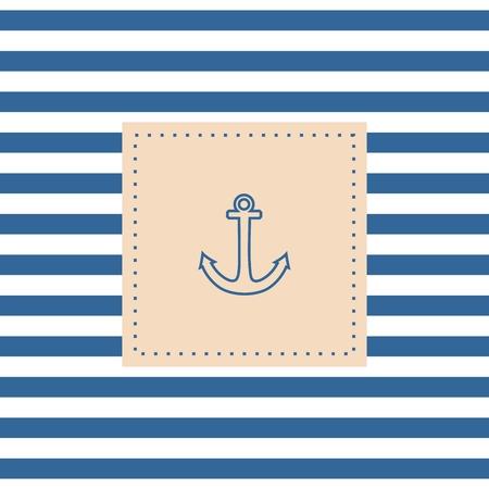 ancre marine: Carte de vecteur nautique ou une invitation avec ancre fond pastel et des rayures blanches bleues