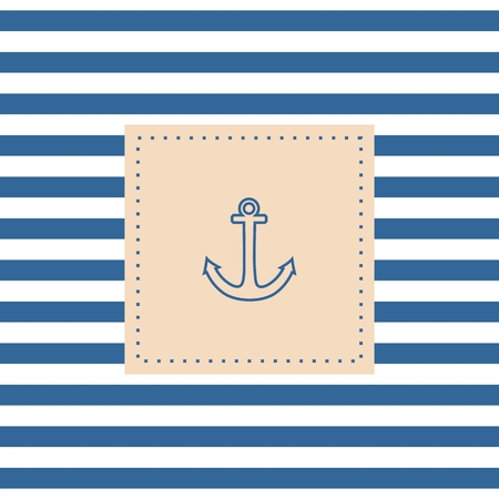 Nautical vector card or invitation with anchor pastel background and blue white stripes
