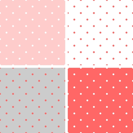 Tile vector pattern set with a polka dots on pastel pink gray and white background