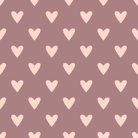 Tile cute vector pattern with pink hearts on pastel background Vector