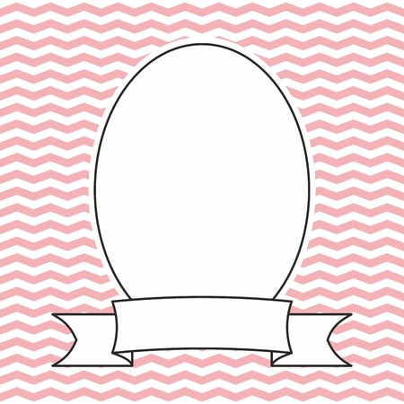 pink and black: Hand drawn decorative vector photo frame on pastel pink and white zig zag background Illustration