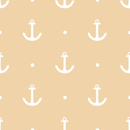 Sailor tile vector pattern with white polkadots anchor and a pastel background Vector