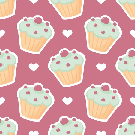 Tile vector pattern with cupcake and white hearts on violet background Vector
