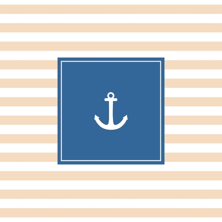 Nautical summer vector card with white anchor on a navy blue and pastel stripes background Vector
