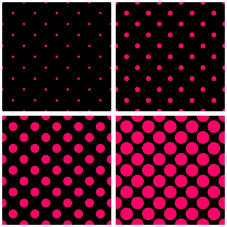 Seamless vector pattern set with sweet pink polkadots on black background. Vector