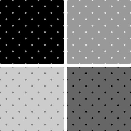 Seamless black white and gray vector pattern or background set with big and small polkadots. For desktop wallpaper and website design. Vector