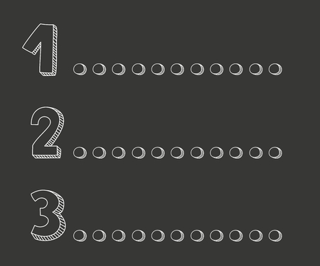 three points: 1 2 3 points on a chalkboard vector illustration