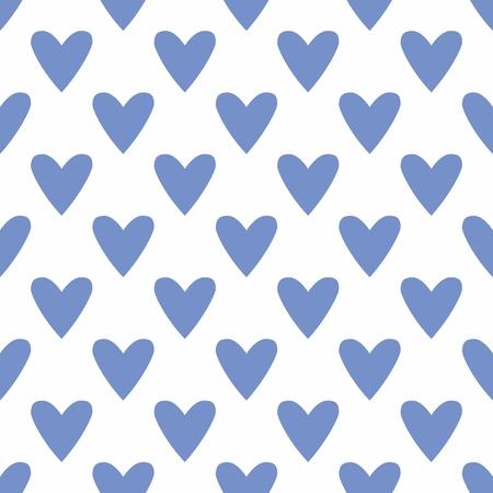 corazones azules: Azulejo vector patr�n lindo con mano dibuja corazones azules sobre un fondo blanco