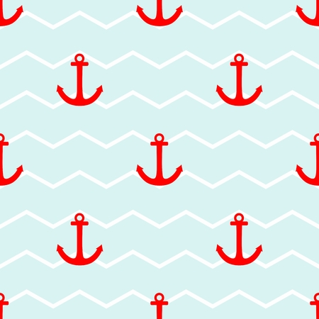 blue stripes: Sailor tile vector pattern with red anchor on a white and blue stripes background Illustration