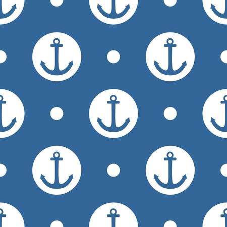 azul marino: Patrón de mosaico de vectores marinero con lunares de anclaje y blancas sobre fondo azul marino