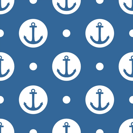 Sailor tile vector pattern with anchor and white polkadots on navy blue background