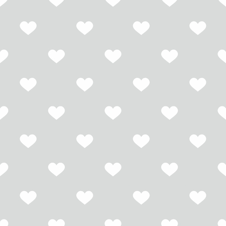 ditch: Tile cute vector pattern with hand drawn white hearts on gray background Illustration