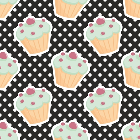 scrapbook homemade: Vector tile pattern with cupcakes and polkadots on black background