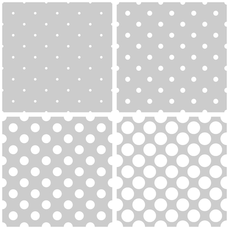 preppy: Seamless vector white and gray pattern or background set with big and small polka-dots Illustration
